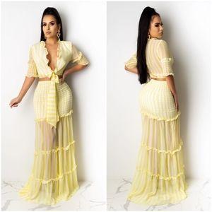 Yellow Mesh Maxi Skirt Set